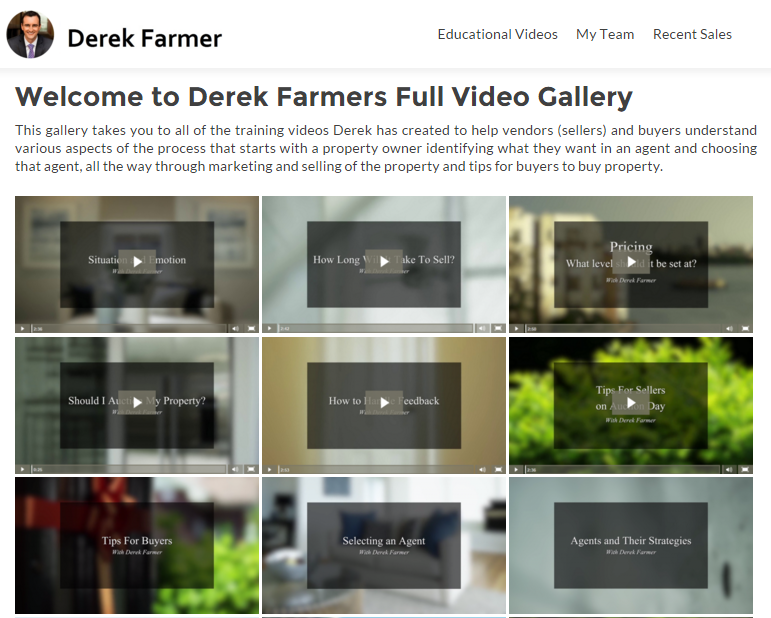 Derek Farmers Real Estate Training Video Gallery - Digital Marketing