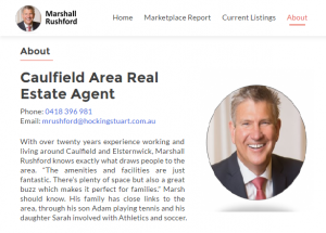 Marshall Rushford Caulfield VIC real estate agent gets own website to control his online digital marketing